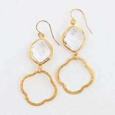 Quatrefoil Earrings from TreBellaDallas on Etsy   $38.00 available in many different colorful stones