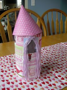 Rapunzel tower for girl Valentine's Box - takes less than 30 minutes to make.