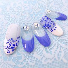 陶器のような、涼しげネイル🍧手描きのレースがポイント^ ^#レース #ブルー #フレンチ#夏|ネイルデザインを探すならネイル数No.1のネイルブック Gel Designs, Nail Art Designs, Nail Art Modele, Nail Growth, Almond Nails, Nail Stamping, Gorgeous Nails, Blue Nails, Nail Arts