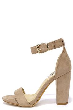 We know you've got at least one occasion coming up, so opt for the Formal Opinion Taupe Suede Ankle Strap Heels! These basic beauties have a soft, vegan suede toe strap and adjustable ankle strap (with gold buckle).