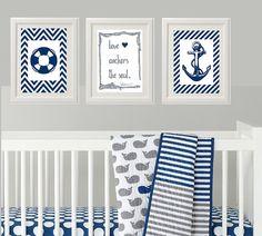 Nautical Baby Nursery / Nursery Wall Art / Wall Decor for Baby Boy's Room / Inspirational Art / Anchor / Life Preserver / Children Art Print...