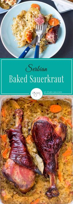 This Serbian baked sauerkraut dish (aka podvarak) with smoked turkey legs is simple, nourishing, and delicious comfort food. Serbian Recipes, Serbian Food, Turkey Recipes, Dinner Recipes, Dinner Ideas, Smoked Turkey Legs, Fermented Cabbage, Winter Dishes, Lunches And Dinners