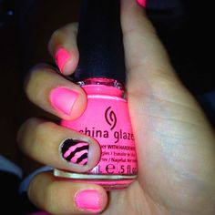Bright Pink and Black nails