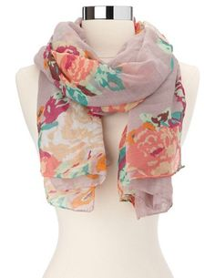 Pastel Floral Woven Scarf: Charlotte Russe