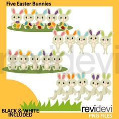 Easter Bunny Clip Art (five bunnies clipart). Cute bunnies, sitting on grass, and hopping. Great resource for any school and classroom projects such as for creating bulletin board, printable, worksheet, classroom decor, craft materials, activities and games, and for
