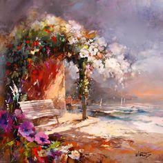 Geschilderd Pireeltje met bloemen stoeltjes en uitzicht op zee versie 2