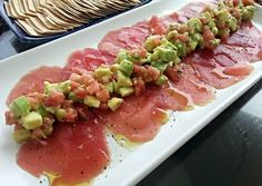 Tuna Carpaccio my version recipe main photo Tuna Recipes, Seafood Recipes, Cooking Recipes, Healthy Recipes, Healthy Snacks, Tuna Tartar, Peruvian Dishes, Fish And Seafood, Appetizers