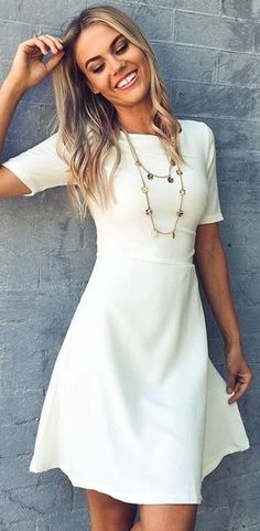 #fall #work #outfits | White 'Taken Over Dress'