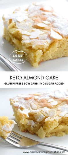 Keto Almond Cake | Mouthwatering Motivation Low Carb Sweets, Low Carb Desserts, Easy Desserts, Low Carb Recipes, Keto Cake, Keto Cheesecake, Ketogenic Desserts, Keto Snacks, Keto Dessert Easy