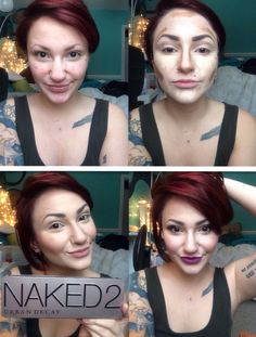 Highlighting and contouring Urban decay naked 2 pallet  MAC Heroine lipstick  Before and after makeup