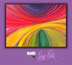 Acrylbild retro bunt von Hono Lulu bzw. fummelhummel rot orange pink lila schwarz grün gelb blau