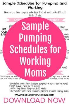 This sample pumping at work schedules printable has pumping schedules you can use at different ages. Freezing Breastmilk, Breastmilk Storage, Breastfeeding Positions, Breastfeeding And Pumping, Schedule Printable, Free Printables, Nursing Information, Pumping Schedule, Pumping At Work