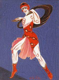 Costume design for theatre Moscow, 1916 by Aleksandra Ekster. Art Nouveau (Modern). design