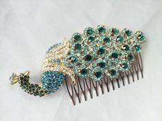 Peacock Bridal Hair Comb Rhinestone Accent Bridal Hair by Allofyou, $38.00