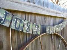 Camo Just Hitched Banner Wedding Camo Wedding by theartofhandmades, $22.95