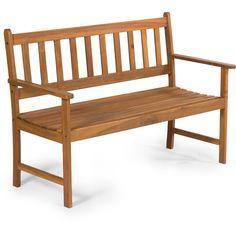 Zahradní lavice 2 místná Pohodlná dvoumístná lavice Rozměry D122 x H57 x V85 cm Loketní opěrky Nosnost 190 Kg Vyrobeno z Akácie Dvoumístná