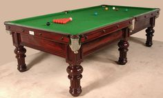 A three quarter size 9ft x 4.5ft Antique Billiard- Snooker table by George Edwards of London - Billiard Room Ltd