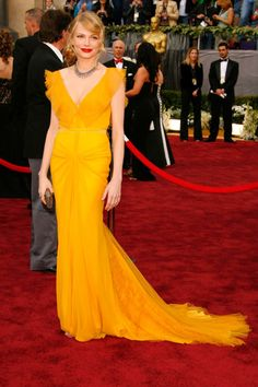 What: Vera Wang Where: Academy Awards in 2006 Why: Arriving on the arm of the late Heath Ledger in this unexpetced saffron gown, Williams became an overnight style sensation.