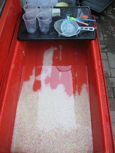 "Rice in the Water Tray ("",) Love the tray of tools"