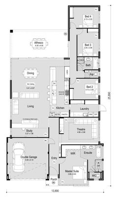 The Marshall - RedInk Homes Best House Plans, Dream House Plans, Small House Plans, House Floor Plans, Home Design Floor Plans, Bedroom Floor Plans, House Plans Australia, Weekend House, House Blueprints