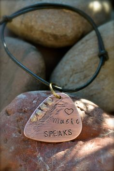 Metal Stamped Guitar Pick with Rivet Accents on by ArtisticSoles, $18.00