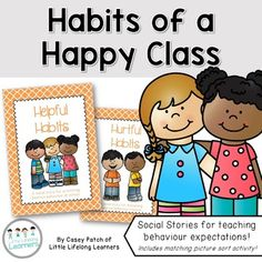 """Explore the behaviors and habits that are helpful and hurtful in your classroom. The packet includes printable social stories which also double as posters which can be used to set goals for student and class behavior.The packet includes: - 'Helpful Habits' behaviour social story (I can..."""") - 11 pages- 'Hurtful Habits' behaviour social story (It makes my friends sad when..."""" - 7 pages- Pages from social stories double as goal setting posters- Whole class colour picture sort activity…"""