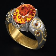 Zoltan David  Spessartite Garnet set in Platinum with 22K Gold Inlay and Insleeve Ring