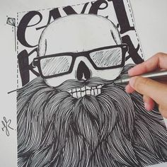 E da que a pouco vão querer, morar em você...  #desenho #draw #drawing #caveira #barba #beard #desenhando #estampa #tshirt #jeffrodrixstore