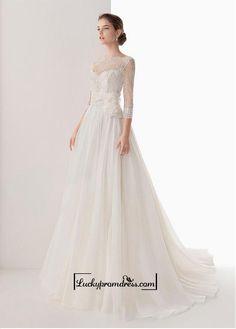 Alluring+Organza+Satin&Lace&Satin+A-line+Illusion+High+Neckline+Natural+Waistline+Wedding+Dress