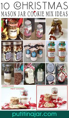 10 DIY Mason Jar Christmas Cookie Mix Gift Ideas | Tutorial | via putitinajar.com