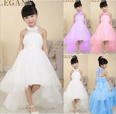 2017 Girl Princess Ball Gown with flower white pearl belt baby Girls party wear Dresses with long trailing wedding evening dress Girls Party Wear, Baby Girl Party Dresses, Party Wear Dresses, Birthday Dresses, Wedding Party Dresses, Occasion Dresses, Formal Wedding, Dress Girl, Party Wedding