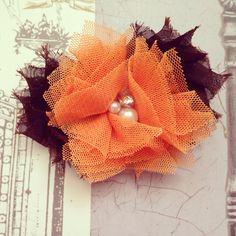 Orange and Brown Shabby Halloween Clip or Thanksgiving Clip for Infant, Toddler, Girls OTHER COLOR OPTIONS on Etsy, $6.75