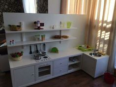 Terrific Photographs Children& kitchen from Kallax Ikea shelf - # children& kitchen Style An Ikea kids' room remains to fascinate the kids, since they are provided a great deal more than Diy Kallax, Ikea Kallax Hack, Ikea Regal, Ikea Kallax Regal, Ikea Kitchen Storage, Diy Kitchen, New Swedish Design, Childrens Kitchens, Cocina Diy