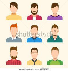 Boys Icons Set. Team Concept. Flat Style Modern Design