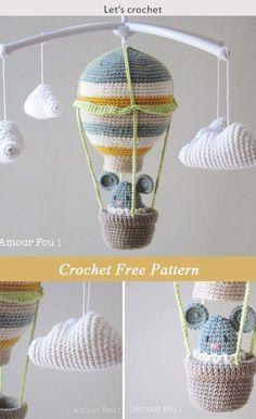 Crochet For Beginners Crochet Hot Air Balloon - baby mobile Free Pattern Crochet Baby Toys, Crochet Amigurumi, Crochet Gifts, Crochet For Kids, Easy Crochet, Free Crochet, Mobiles En Crochet, Crochet Mobile, Crochet Blanket Patterns