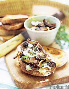 Wild Mushroom and Blue Cheese Crostini. housebeautiful.com. #crostini #mushroom #cheese #fall_recipes #appetizers