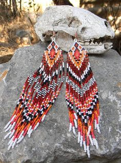 Native American Seed Bead Patterns | Extra Long Native American Style Seed Bead by ... | bead weaving