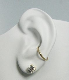 Conch Piercing,Cartilage Earring, Gauge Conch Hoop, Pierced Ear Cuff, 14K Gold Body Piercing, Conch Hoop Thin Half Round E914KP