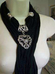 I want it!Black Jewelry Scarf necklace scarf necklace by Lacesanddreams, $23.00