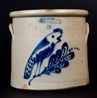 F.B. NORTON & CO / WORCESTER, MASS Stoneware Crock w/ Parrot