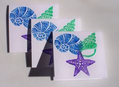 Cards Mini Blank Notes Starfish and Seashells by krafterskorner on etsy.