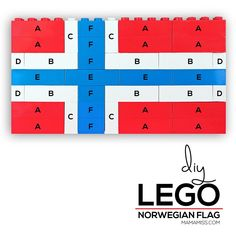 Study each country flag in a fun & educational way – with Legos from Dinosaur Alphabet, Alphabet Board, Name Crafts, Fun Crafts, Norwegian Flag, Shape Games, Mo Willems, Lego Store, Pre Writing