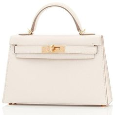Hermes Craie Kelly 20cm Mini Off White Shoulder Bag Limited Edition... ($20,325) ❤ liked on Polyvore featuring bags, handbags, mini plastic bags, shoulder bag, plastic bag, hermes shoulder bag and hermes handbags