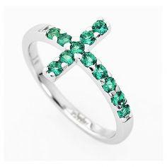 14951c65fbdf Anillo AMEN cruz plata 925 blanco circones verdes