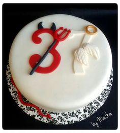 Devil 3:-) vs Angel O:-) birthday cake