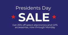 Presidents Day Sale! Now through Monday, save 25% on select electronics and GPS accessories. Plus, receive a free 2021 Compact Road Atlas with each electronic buy! Shop now: Presidents Day Sale, Buy Shop, The Selection, Compact, Electronics, Free, Accessories, Consumer Electronics, Jewelry Accessories