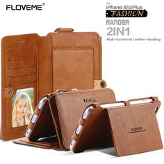 18 Card Slots Original Floveme Woman Leather Wallet Bag Case for iPhone 6 6S 6s Plus Multi functional Handbag Carrying Cover