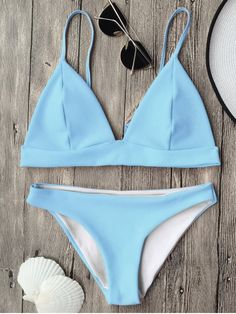 Cami Plunge Bralette Bikini Top and Bottoms - LIGHT BLUE S