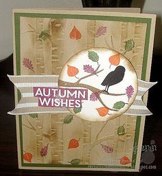 Rachel's Stamping Place: The Leaves are Falling (well, not yet) Stampin' Up!'s Among the Branches stamp set and the woodland embossing folder make this a great autumn card.
