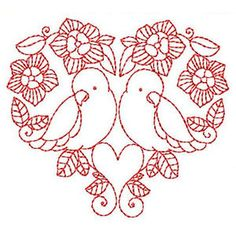 birds in red - love embroidery
